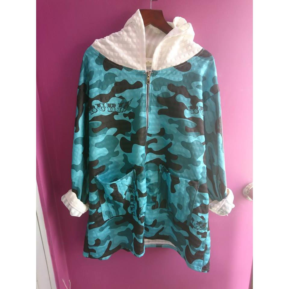 áo khoác rằn ri xanh ngọc bigsize - áo khoác rằn ri xanh ngọc bigsize