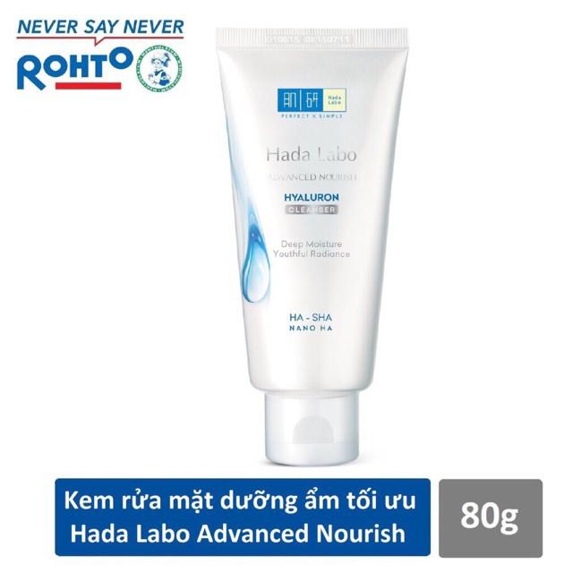Kem rửa mặt dưỡng ẩm tối ưu Hada Labo Advanced Nourish Cleanser 80g nhập khẩu