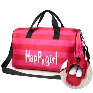 Túi trống du lịch nữ thể thao sọc Pink,Túi Xách Du Lịch Cao Cấp Túi Trống Du Lịch Túi Tập Gym Cho Phái Nữ Mạnh Mẽ thumbnail