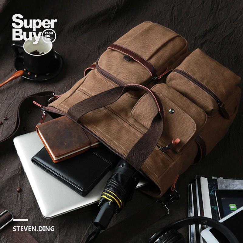 Túi xách đựng Laptop bằng vải canvas cỡ lớn 15inch Below đa năng phong cách cổ điển thời trang cho nam và nữ 15inch/ 15inch