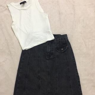 Chân váy jean, tank top f21