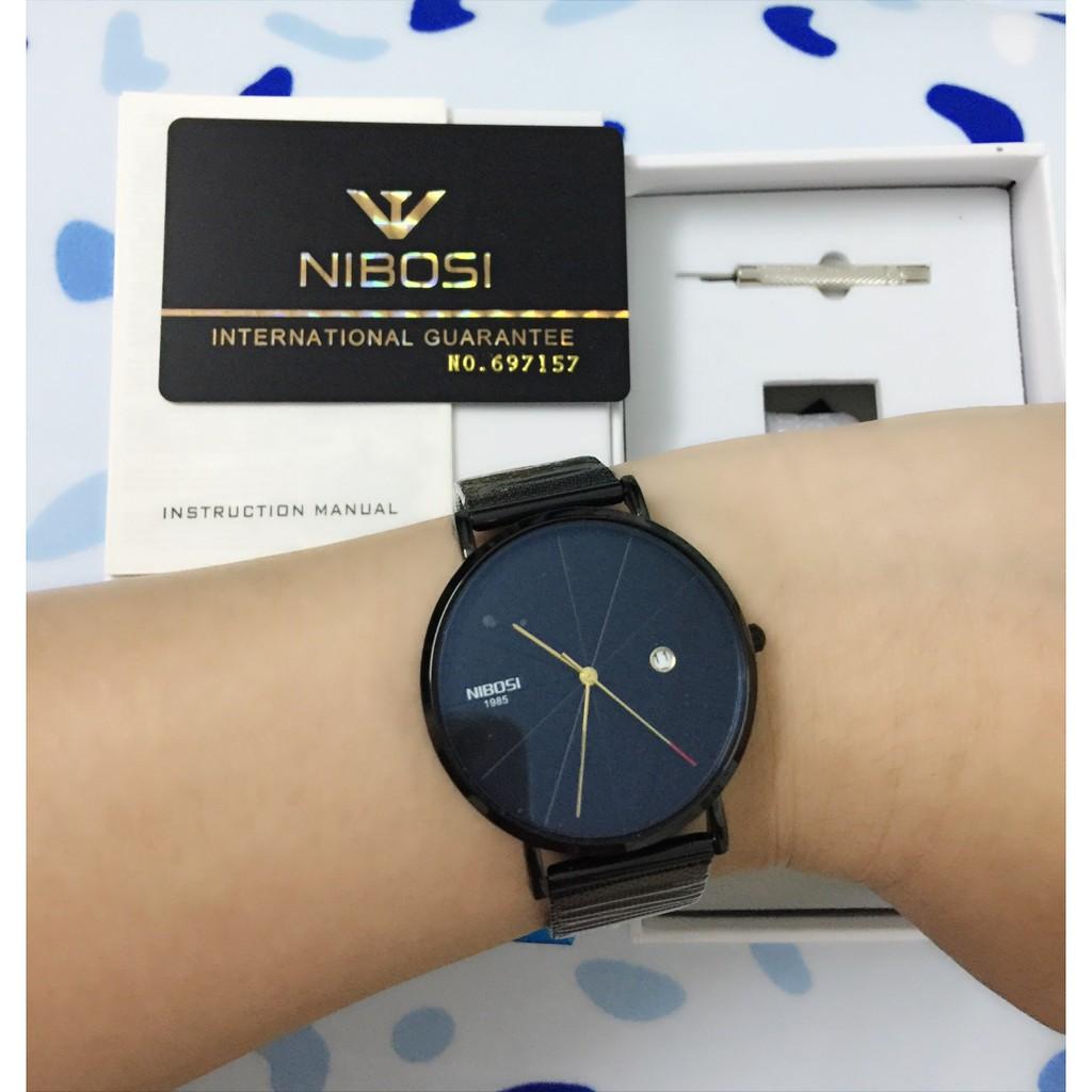 Đồng hồ nam chính hãng Nibosi mặt tròn máy Nhật cao cấp