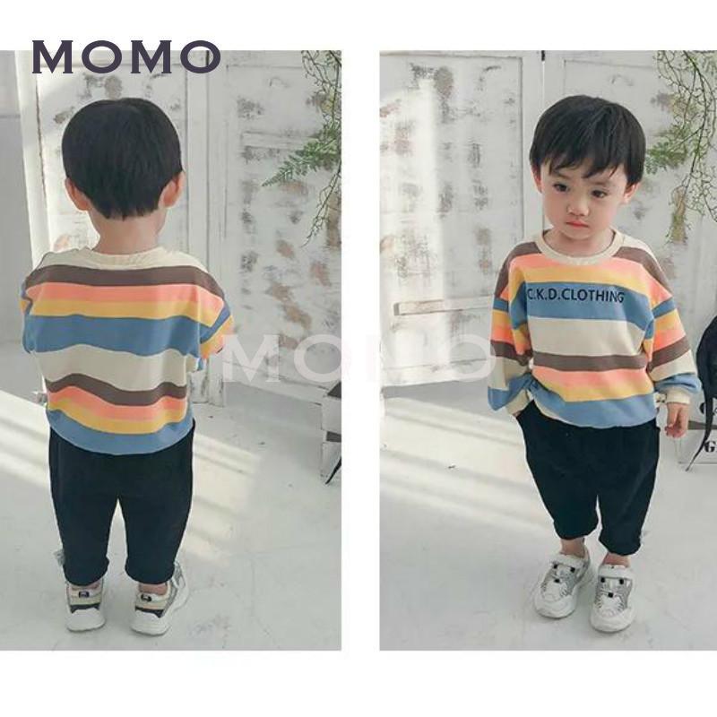 Áo thun tay dài họa tiết kẻ sọc in chữ xinh xắn cho bé trai từ 1 - 5 tuổi
