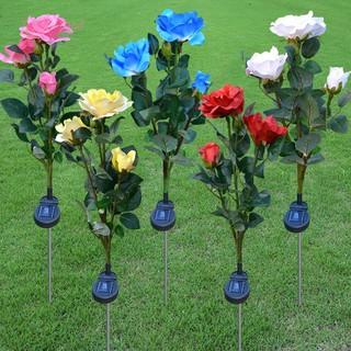 ☻Available☂3LED Solar Simulation Rose Flower Light Waterproof Garden Landscape Lamp