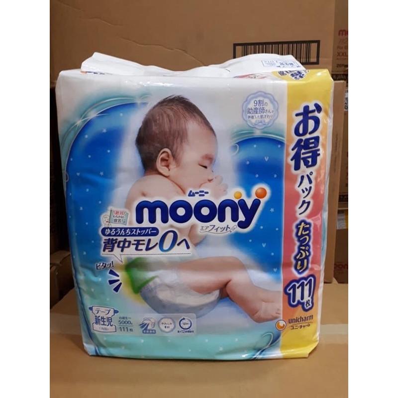 Bỉm Moony xanh dán/quần Siêu Cộng Miếng Nb111/S102/M78/M70/L54/XL46 nội địa Nhật