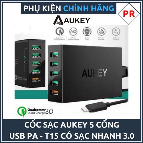 Cốc sạc 5 cổng AUKEY PA T15 Quick Charge 3.0 chính hãng