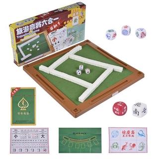 Bàn mạt chược du lịch có thể gập lại 6 trong 1 bàn chơi mạt chược mini đặt trò chơi truyền thống và trò chơi xúc xắc trò chơi poker cua