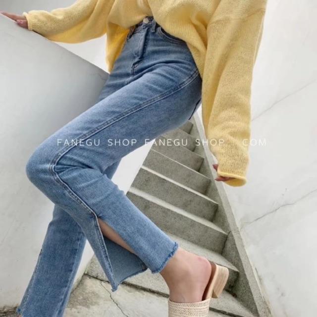 กางเกงยีนส์ผ้ายืด 9 ส่วน งานฟอกสีเฟด สวยกำลังดีเลยจ๊ะ  ปลายขาผ่านิดๆ เก๋ๆเลยจ้า ผ้านิ่มยืดได้เย๊อะ