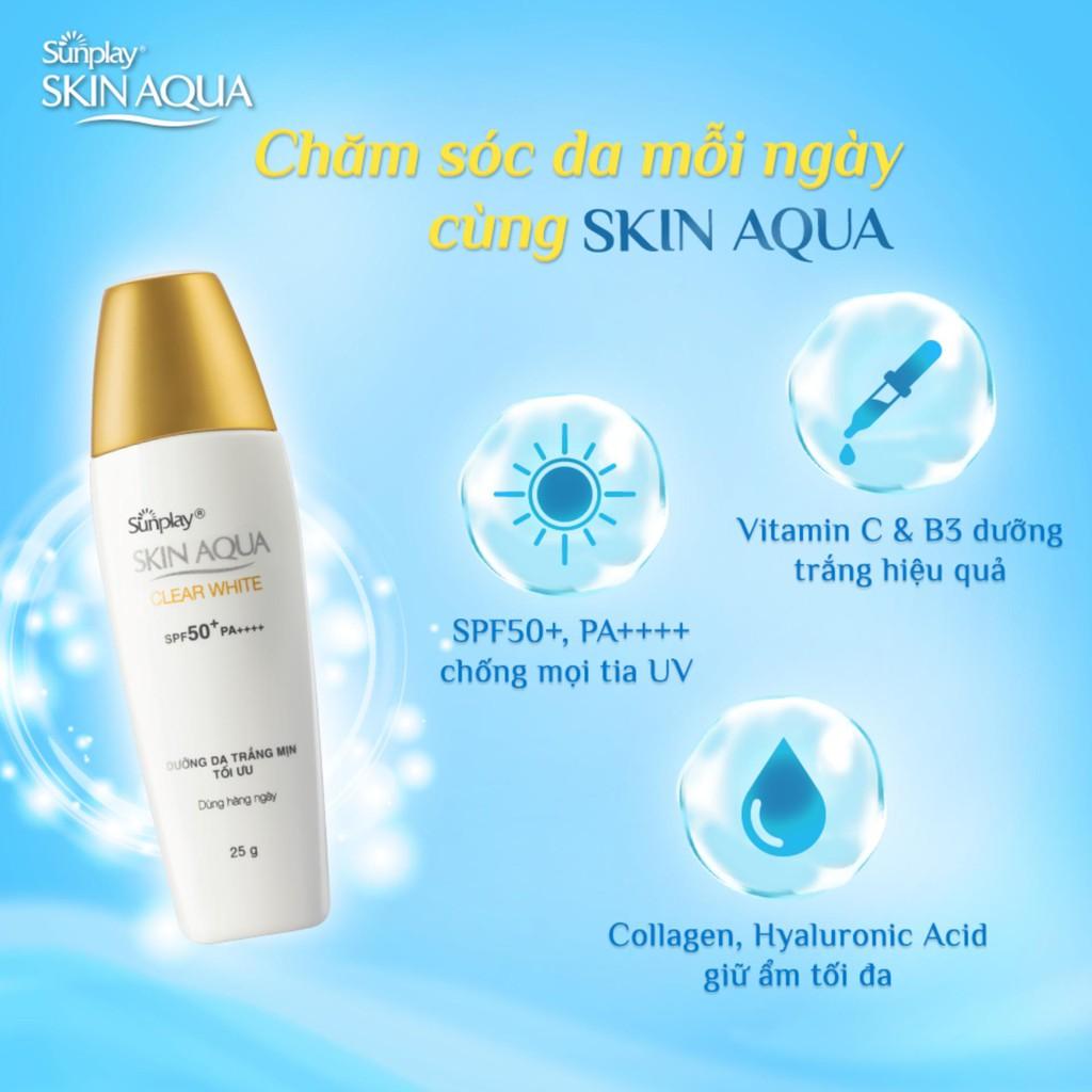 Sữa chống nắng hằng ngày dưỡng trắng Sunplay Skin Aqua Clear White SPF 50+  PA++++ 25g + Tặng Sữa chống nắng Skin Aqua 5g | Shopee Việt Nam