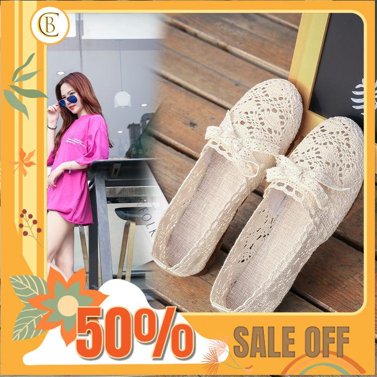 (Hàng Sẵn) Giày Búp Bê Ren Lưới Gắn Nơ Phong Cách Hàn giá rẻ