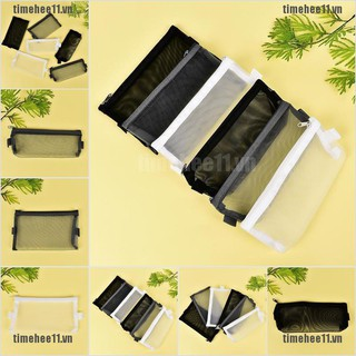 Clear Exam Pencil Case S/L Transparent Simple Mesh Zipper Stat