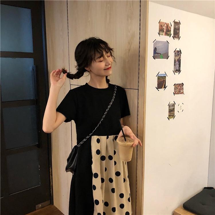 Đầm chấm bi dáng rộng xinh xắn cá tính thời trang