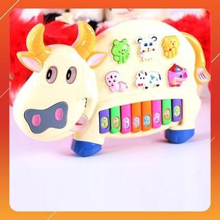 [KAS] Đồ chơi đàn piano hình chú bò sữa cho bé xanh Giảm giá