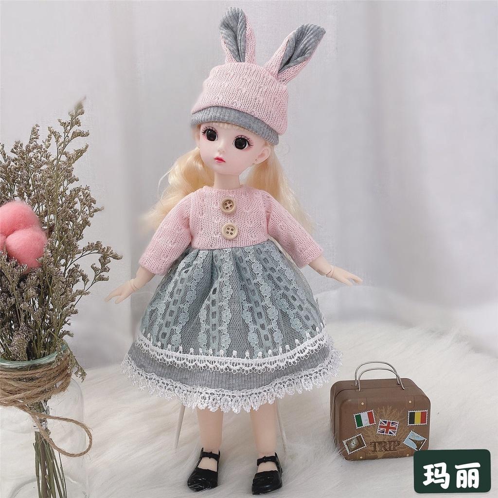 bé dễ thương 30 cm Barbie bộ công chúa nhỏ 3D mắt 22 khớp 6 điểm bjd net búp bê màu đỏ búp bê trẻ em