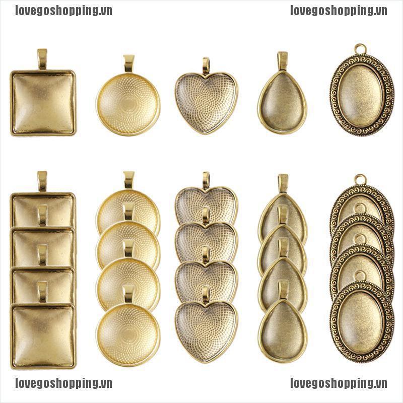 LOVIN 40Pcs Bezel Pendant Trays Blanks with Glass Cabochon DIY Craft Jewelry Making VN