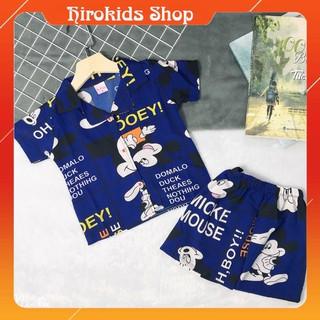 Bộ ngủ pijama vải lụa tay ngắn quần đùi cho bé trai bé gái (10-22kg) – Hirokids