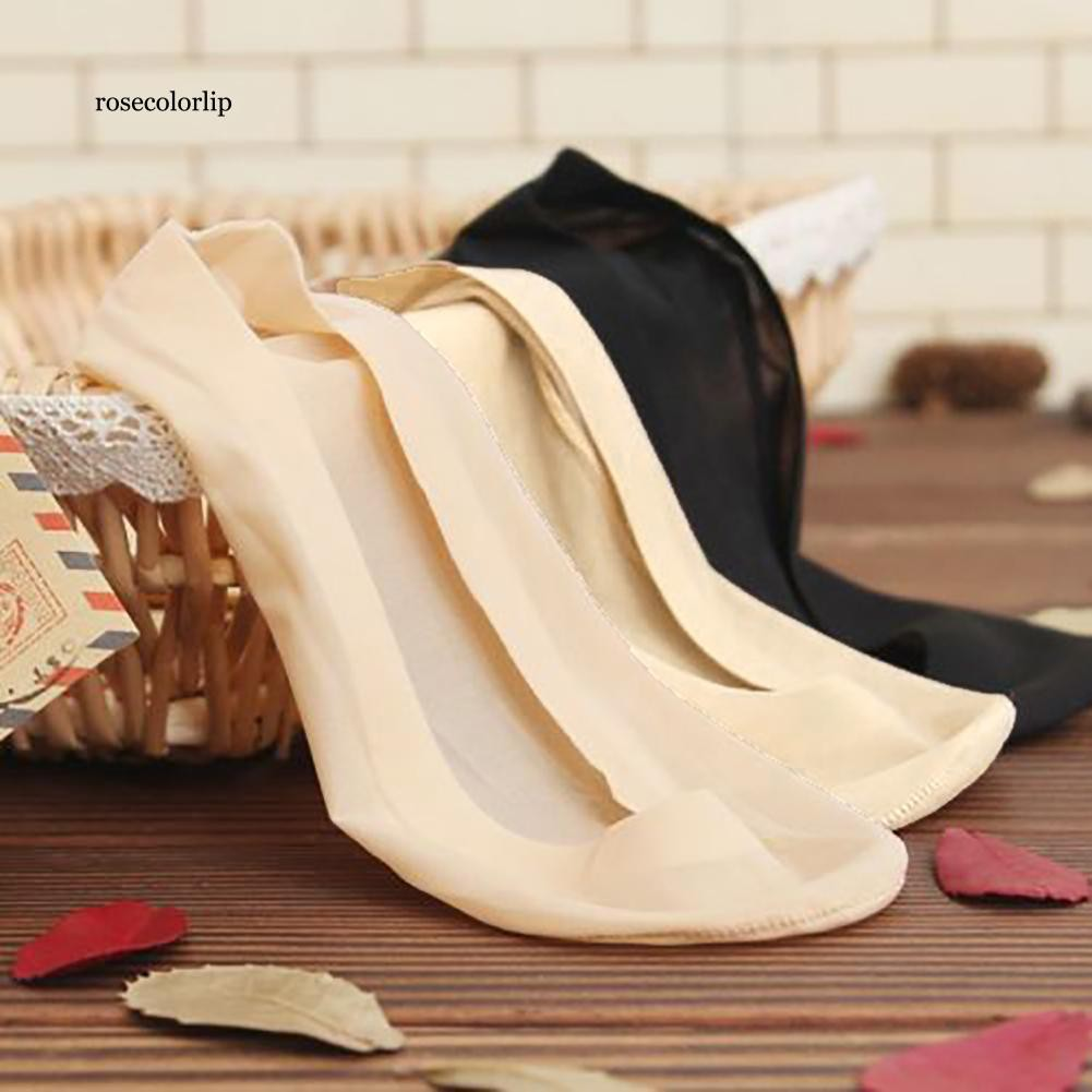 ROSE Silky Breathable Silicone Anti-Slip Low Cut Invisible Summer Women Secret Socks
