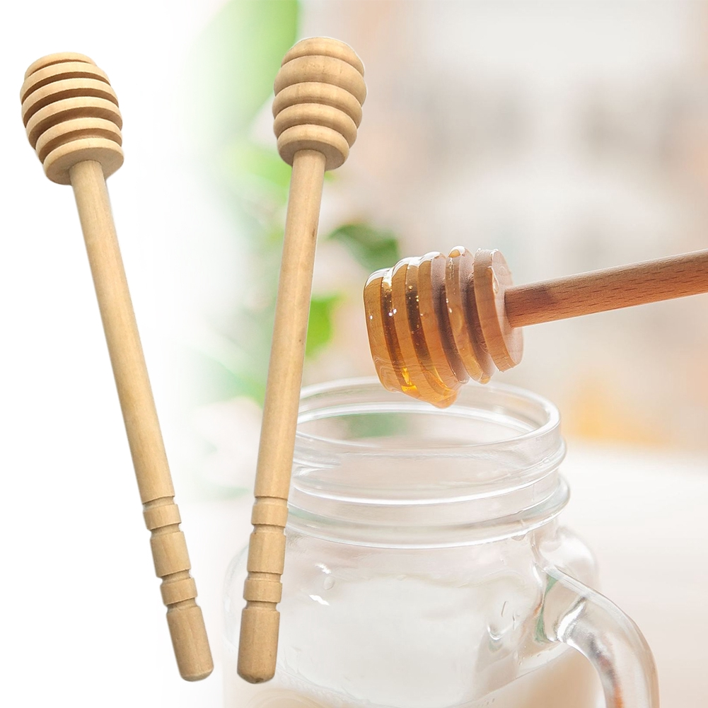 Wooden Honey Dipper Spoon Long Handle Practical Kitchen Tools Mixing Stir Bar Stick Spiral