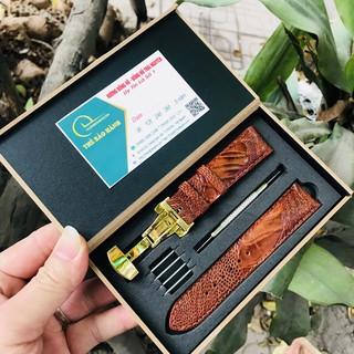 [Mã FAMAYFA2 giảm 10K đơn 50K] Dây da đồng hồ cao cấp ♥️ FREE SHIP♥️ da đà điểu full hộp gỗ tặng kèm phụ kiện như hình