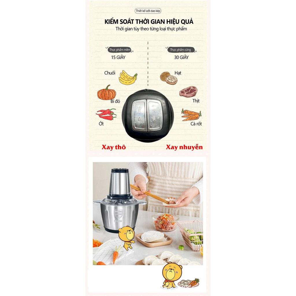 Máy Xay Thịt Xay Thực Phẩm Cối Inox 4 Lưỡi Đa Năng - Máy Xay Tỏi Ớt Bảo Hành 6 Tháng - Máy Xay Kinosun