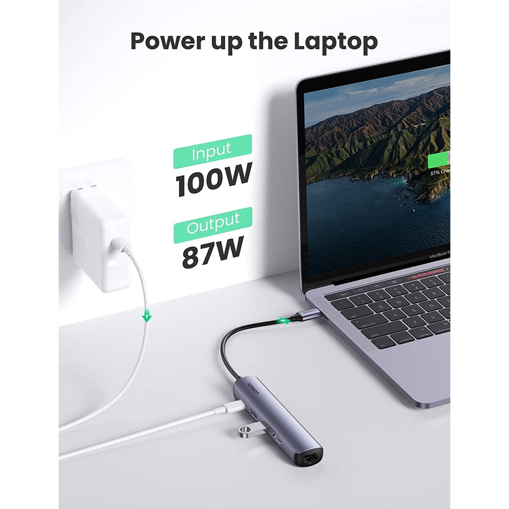 Bộ Hub chuyển đổi kết nối cổng USB type C sang HDMI, USB 3.0, Lan Gigabit và PD 100W UGREEN 10919