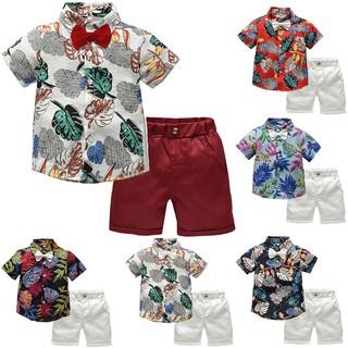 Bộ áo thun đính nơ cổ + quần ngắn cho bé trai