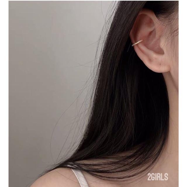 Khuyên vành tròn bạc ý 30% màu trắng đá sáng , bông tai vành