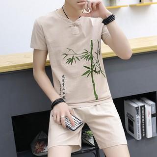 Bộ quần áo đũi nam cộc tay cổ tàu, họa tiết thêu chất mát 002