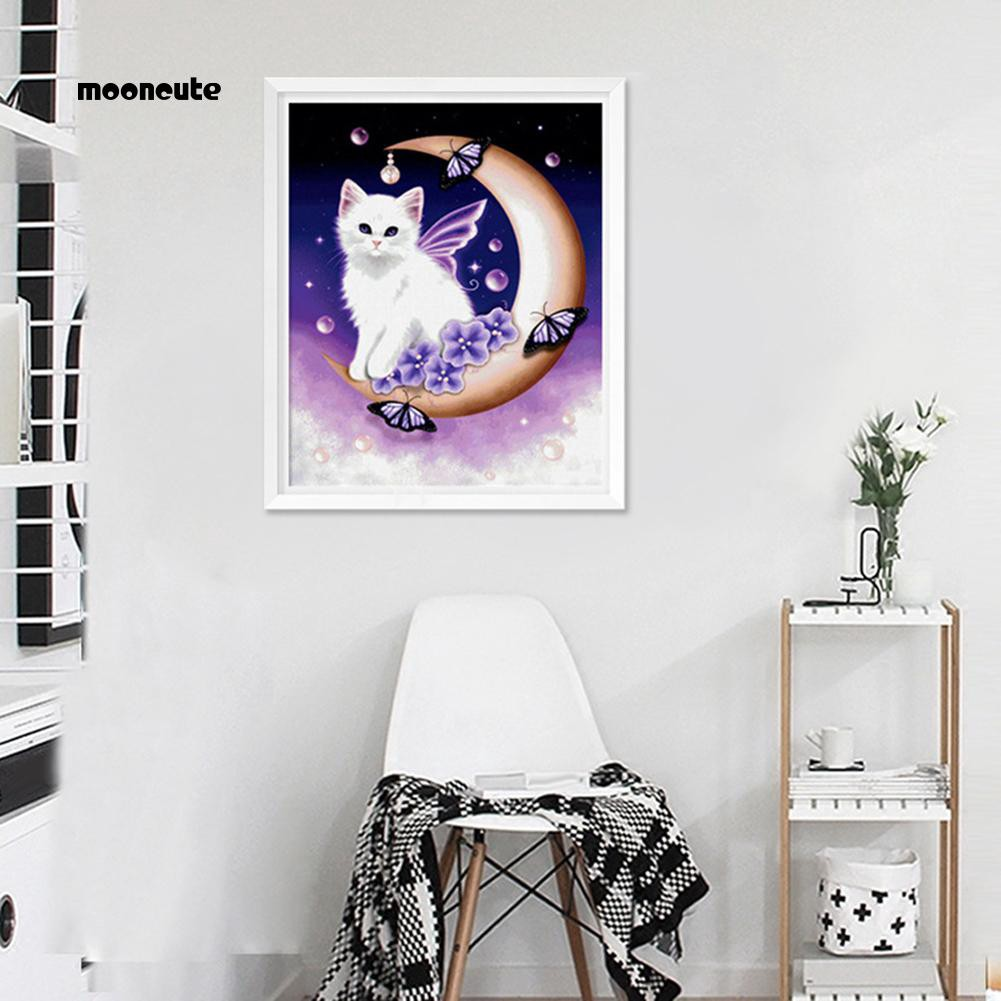 Tranh thêu chữ thập đính đá hình mèo và mặt trăng đáng yêu MNKG