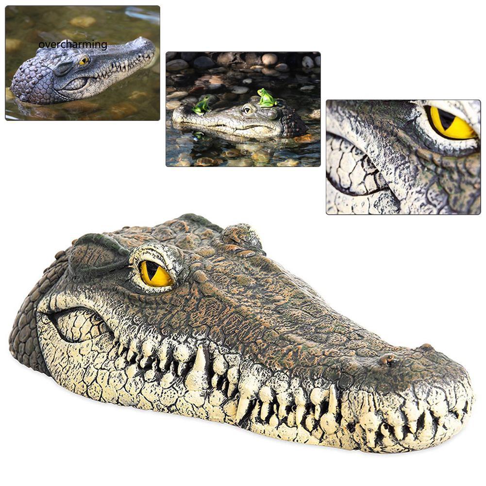 J_Artificial Crocodile Alligator Head Floating Foam Decoy for Pool Pond G