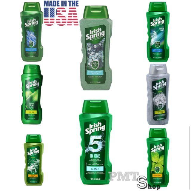 [USA] Sữa Tắm Irish Spring 532ml Original, Deep Action, Exfoliating Clean, Skin Hydration, Non Stop, Aloe, 5in1 - Mỹ