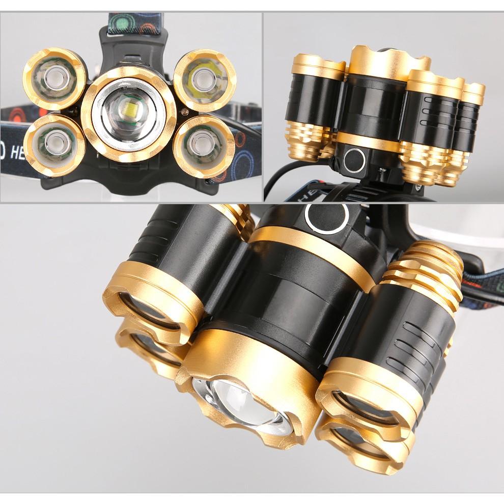 Đèn Pin Đội Đầu 5 Bóng Siêu Sáng 30W - Chế Độ Zoom - Chống Nước IP66. Đèn  pin tích điện 5 bóng