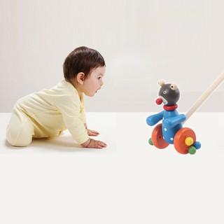 ★Lp★Cartoon Baby Coagent Toddler Child Putting Animals Wooden Puzzle TrolleyToy