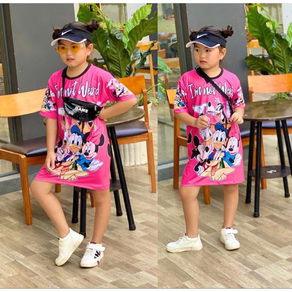 Đầm suông thun lạnh in 3D size đại cho bé gái từ 25 đến 50kg - Đầm váy bé gái