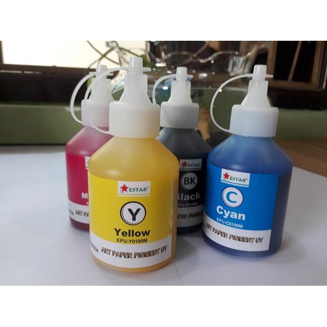 4 màu mực dầu Pigment UV Epson 100ml không phai màu, chống nước: Xanh, Đỏ, Vàng, Đen. Bình, chai, lọ bơm, đổ máy in phun