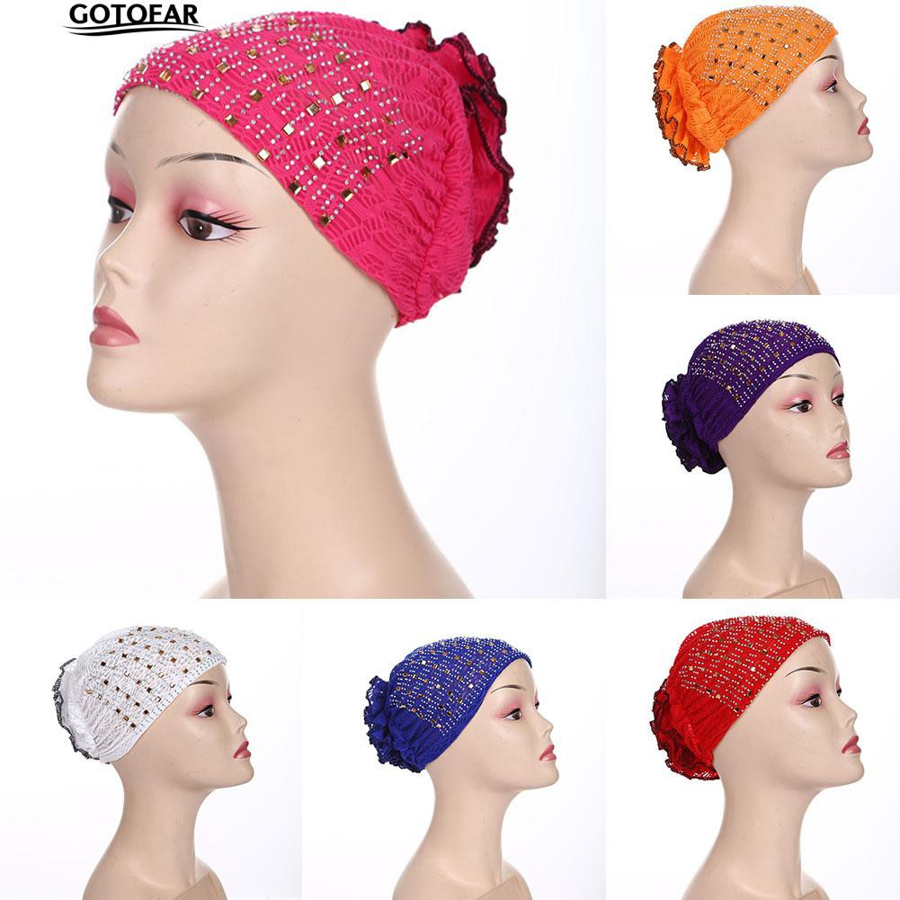 Retro Pleated Flower Muslim Hat Elastic Turban Beanie