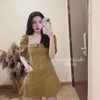 Váy nữ xình chất kaki mềm màu nâu tây khóa giữa thumbnail