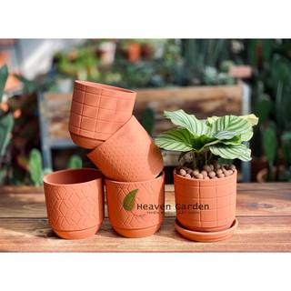 Chậu đất nung hoa văn gờ đáy 15x15cm- chậu trồng cây