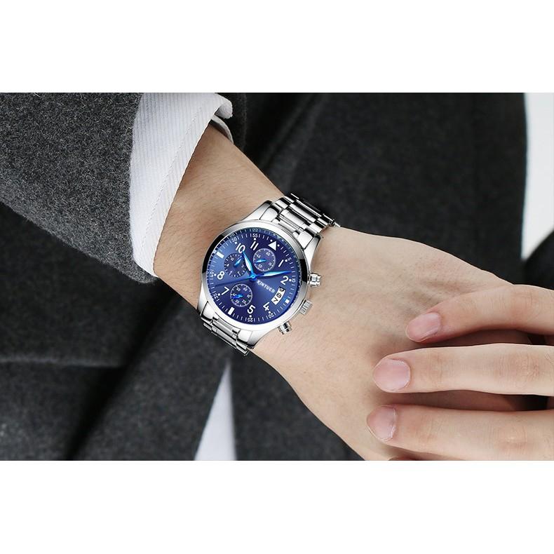 Đồng hồ nam Kinyued dây thép đặc không gỉ 6 kim (fullbox)