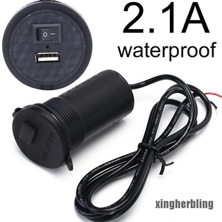 XBVN Waterproof 2.1A Switch Motorcycle Car Phone Charger GPS USB Power Supply Port