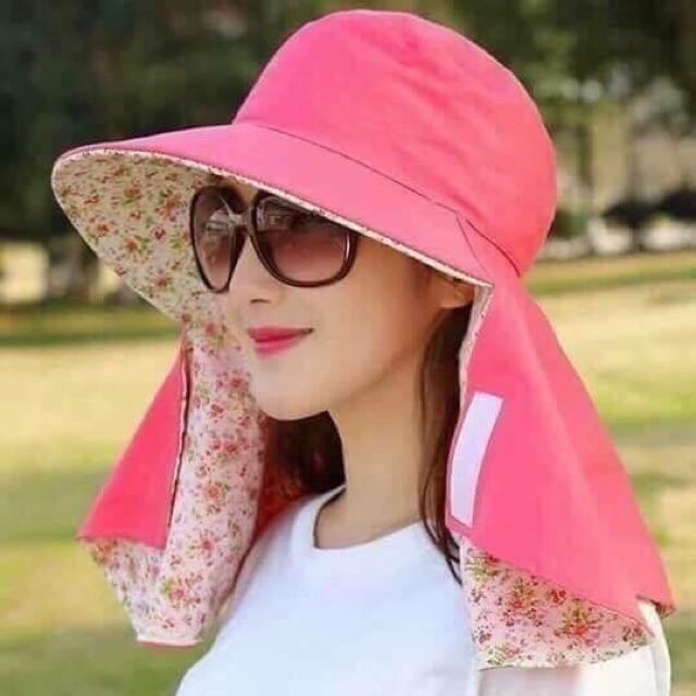 Mũ chống nắng hai mặt có khăn che