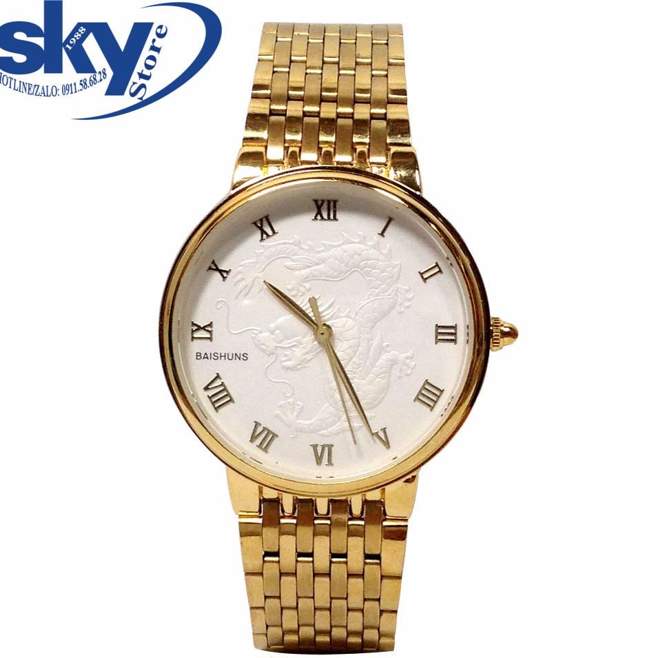 Đồng hồ nam Baishuns b999 mặt rồng trắng