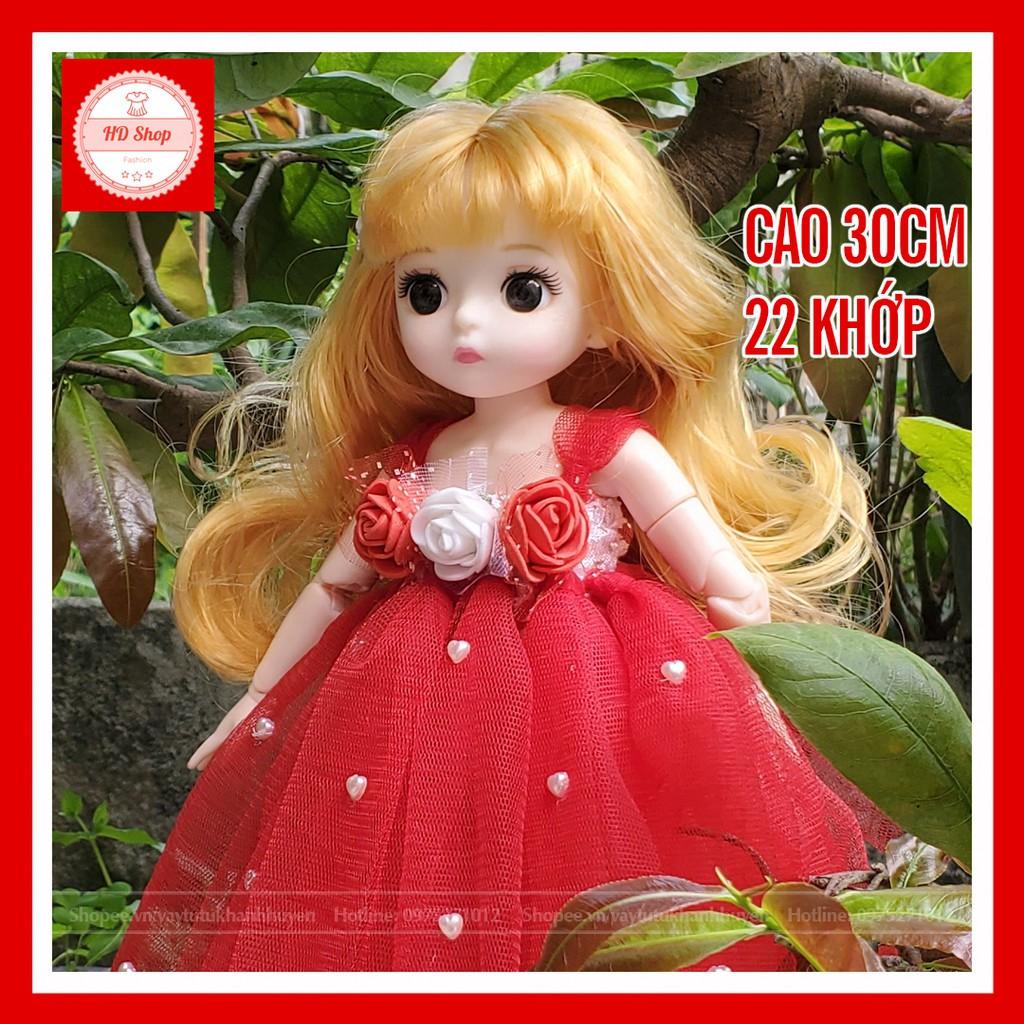 Búp bê công chúa tóc vàng đầm đỏ cao 30cm cho bé gái ❤️FREESHIP❤️ Đồ chơi búp bê cho bé gái tặng kèm đầm và giầy