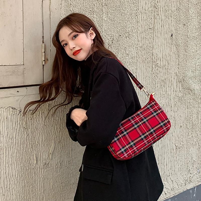 Túi Vải Canvas Đeo Vai Kẻ Sọc Kiểu Vintage Hàn Quốc Xinh Xắn Cho Nữ