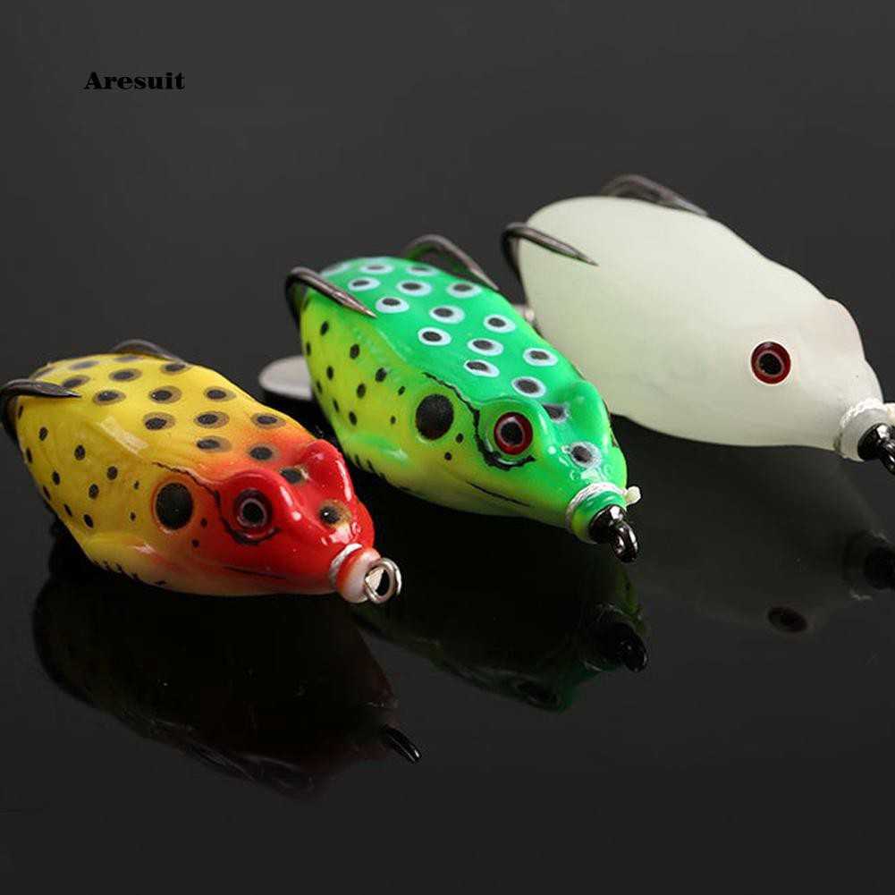AEST_Fishing Bait Artificial Frog Lure Soft with Sharp Hook Tackle for Snakehead Pike