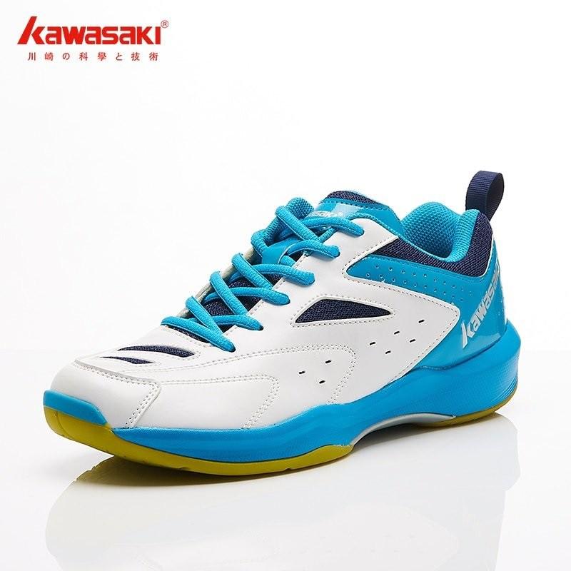 Giày thể thao chơi cầu lông, bóng chuyền, bóng bàn Kawasaki K085 chính hãng, màu trắng xanh, size từ 37-44