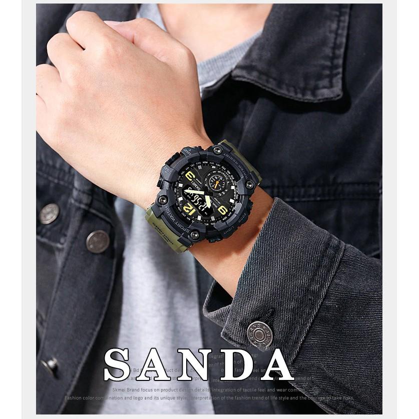 Đồng hồ thể thao nam SANDA JAPAN, 2 Máy Đỉnh Cao, Chống nước Siêu Bền
