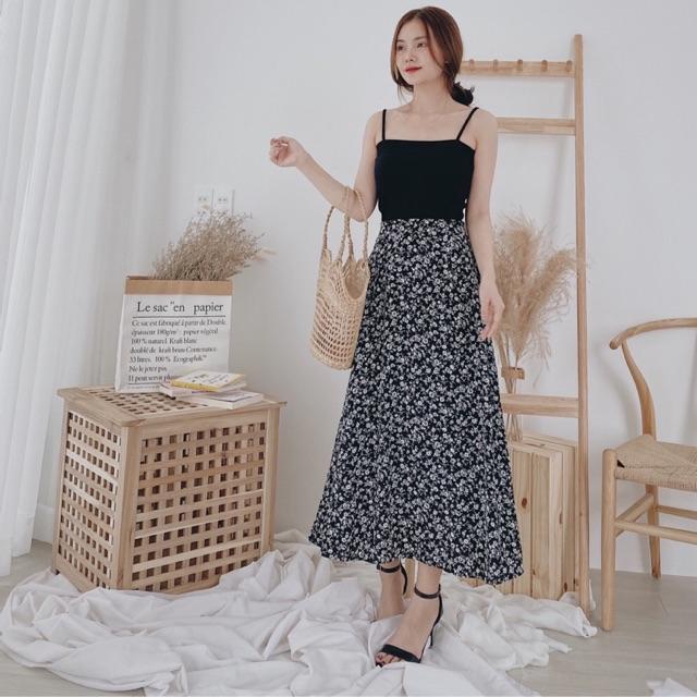 Set áo 2 dây mix chân váy hoa siêu xinh   Shopee Việt Nam
