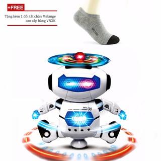 Đồ chơi robot nhảy phát nhạc phát sáng xoay 360 độ + Tặng tất nam Melange hàng VNXK[Tmarkvn]