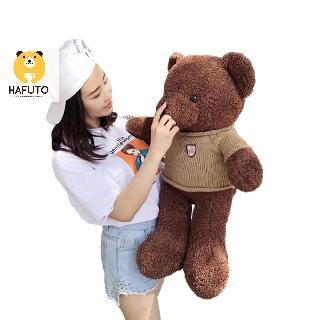 Gấu Teddy head and tales lông chỉ áo len HAFUTO size 90cm